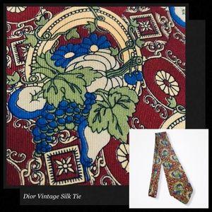 CHRISTIAN DIOR Vintage Grapevine Pattern Silk Tie